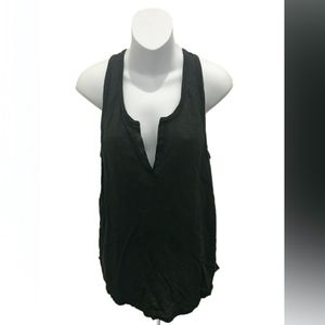 Vince Brown Sleeveless V-Neck Linen Blouse